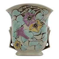 Roseville Morning Glory Pillow Vase In White/Yellow/Lavender Glaze #120-7