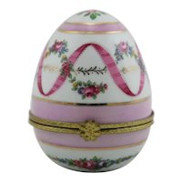 Pretty in Pink China Hinged Egg Trinket Box Floral Accents and Goldtone Hinge