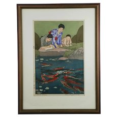 Hiroshi Yoshida (1876-1950) 'Carp Fishes' Jizuri Seal