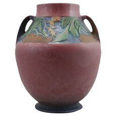 """Roseville Baneda 10"""" Vase In Vivid Mottled Pink Frosted Glazes 597-10"""