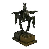 Armor Bronze 'Dancing Female Jester' Bookends c1925