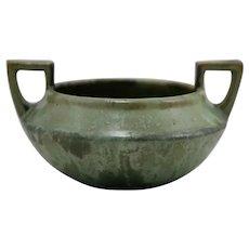 Fulper Shouldered Bowl W/High Handles c1909-1917 In Cucumber Crystalline Glaze