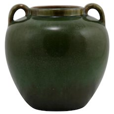 "Fulper 6.5"" Vase With Handles c1917-1923 In Green On Green/Plum Glazes"