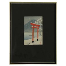 Kawase Hasui (1883-1957) 'Chuzenji Torii in Snow, Utagahama'