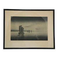 Ohara Koson (Shoson) (1877-1945) 'Sail Boats by Night' or 'Sailboats by Dusk'