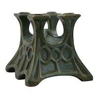 Fulper 'Candlestem' Bookends In Green/Blue-Green/Amber Glazes