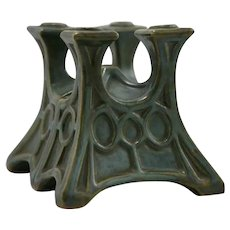 Fulper 'Candlestem' Bookends In Green/Blue-Green/Amber Glazes