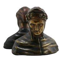 Armor Bronze NYC 'Dante Alighieri' Polychrome Bookends c1920