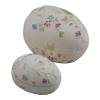 Bone China Egg Trinket Boxes with Embossed Floral Accents from the Philippines