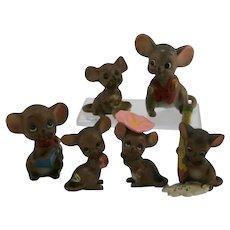 Josef Originals Teensy Mouse Village Figurals (6) in Miniature