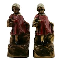 Marion Bronze 'Basket Girl' Polychrome Bookends