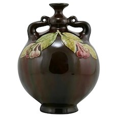 "Peters & Reed 9.5"" Standard Ware Bulbous Vase With Cherries Motif"
