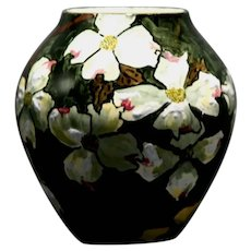 John Bennett NYC Dogwood Blossoms in Snow Vase c1880s Original Condition