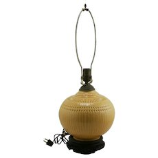 "Roseville Savona 23"" (8.5"") Ball Lamp In Bright Yellow Glaze on Teak Base"
