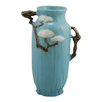 "Roseville Ming Tree 11"" Vase W/Fabulous Handles In Blue 583-10"