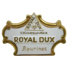 Royal Dux Czechoslovakia Porcelain Figurines Dealer Sign in Gold Trim