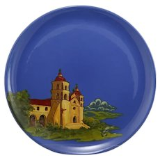 """Metlox Poppytrail 14"""" Charger with Carmel's Spanish Mission Scene Hand Decorated"""