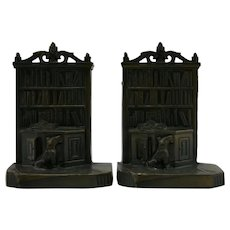 Kronheim & Oldenbusch 'Library with Dog on Rug' Bookends c1930