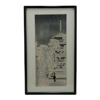 Shôtei (Hiroaki) Takahashi (1871-1945) 'Snow at Asakusa'