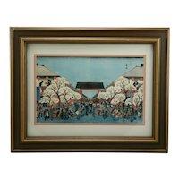 Utagawa (Ando) Hiroshige (1797-1858) 'Cherry Blossoms at Night in the Yoshiwara