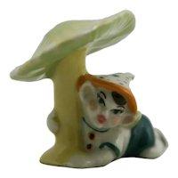 Ceramic Art Studio Pixie/Elf Figural Resting Under a Mushroom