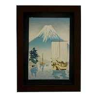 Attributed to Tsuchiya Koitsu (1870-1949) 'Mt. Fuji Lake/Boat Scene'