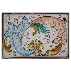 Italian Faience Slab Tile Fratantoni Ceramics Tile 'Stylized Bird of Paradise'