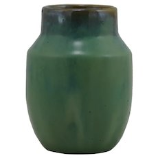 "Fulper Prang 4.5"" x 3.25"" Vase One Of The First Fifteen In Brown Over Green/Blue"