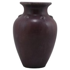 "Fulper 7"" Vase W/Button Collar In Rosey Purple/Blue Matte Glazes Shape 532"