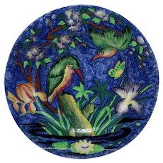 """Maling Ware Kingfisher 11"""" Charger/Plate in Vivid Blue Glaze c1930s England"""