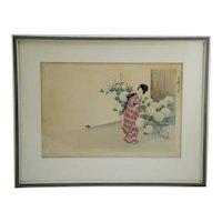 Ikeda, Terukata (1883-1921) 'A Lady Tending to Snowball Hydrangea Blossoms'