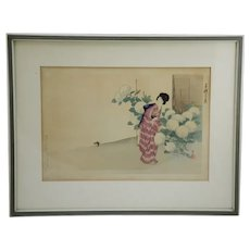 Ikeda, Terukata (1883-1921) 'A Lady Tending to Snowball Hydrangea Blossoms'