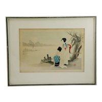 Ikeda, Terukata (1883-1921) 'Two Ladies Viewing a Full Moon Over a Lake'