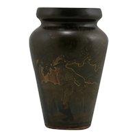 Swedish A-Bol Ornamentik Eskilstuna Art Nouveau Bronze/Brass Vase Etched Patina