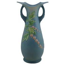 """Roseville Bleeding Heart 15.5"""" Floor Vase In Rich Blushed Blue Glazes"""