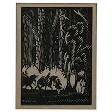 Charles Turzak (1899-1985) 'Moving to Indiana' from 'Abraham Lincoln: Biography in Woodcuts '