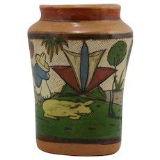 Tlaquepaque Petatillo Vase c1930-40s Tourist Pottery Mexico In Tonala Style