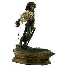 Armor Bronze 'Captain Kidd' Polychrome Ashtray c1926