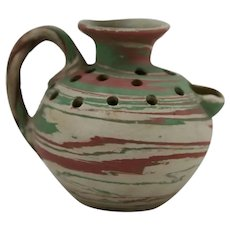 Fort Ticonderoga Swirl Pottery Flower Frog Pitcher by Henry A. Graack Jr. c1930s