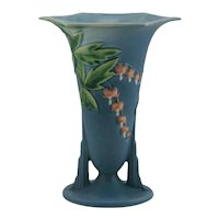 "Roseville Bleeding Heart 7.25"" Vase In Blushed Blue Glazes 966-7"