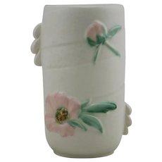 """Weller Rudlor 7"""" Vase W/Leafy Handles Blossom/Bud Matte White/Pink Glaze"""