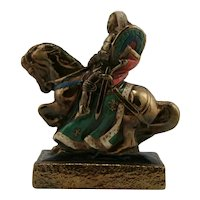 Marion Bronze 'Knight on Horseback' Polychrome Single Bookend c1956