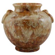 """Camark 9.5"""" Ring-Handled Urn/Vase 1930s #339 In Rich Brown Stipple Glazes"""