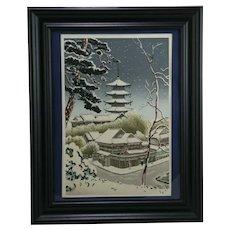 Benji Asada (1899-1984) 'Pagoda at Yasaka in Winter Snow'