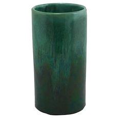 Royal Haeger Early Cylinder Vase in Blue-Green/Green Glazes c1914 Diamond Mark