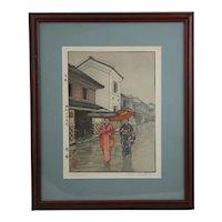 Toshi Yoshida (1911-1995) 'Umbrella' Jikoku-Sealed First Edition Woodblock d1940