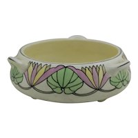 Roseville Ceramic Design 3-Handle Arts & Crafts Bulb Bowl/Planter with Waterlily Motif