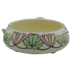 Roseville Ceramic Design 3-Handle Arts & Crafts Bulb Bowl/Planter with Waterlily Motif