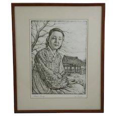 Willy Seiler (1903-1997) 'Korean Beauty' Original Etching