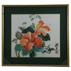 (Unread Artist) 'Hibiscus Blossoms and Birds' Painterly Woodblock